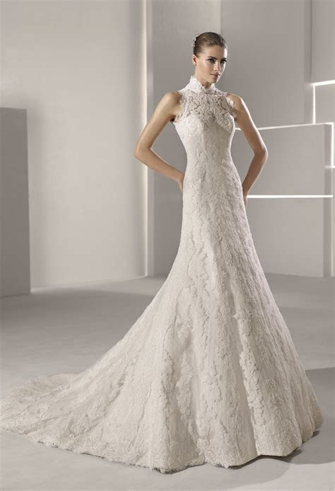 High neck lace mermaid wedding dress   OneWed.com