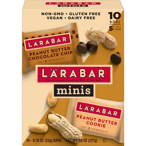 Larabar Minis Peanut Butter Cookie, Chocolate Chip - 10 bars, 0.7 oz each