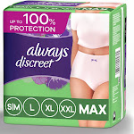 Always Discreet Incontinence & Postpartum Incontinence Underwear for Women - Maximum Protection - XL - 26ct