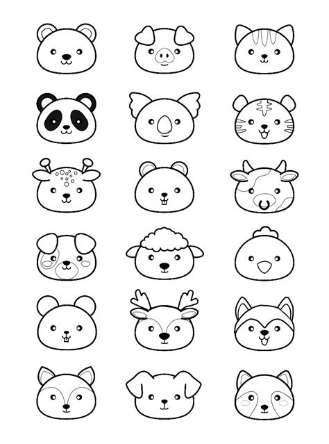 kawaii animals pa adult coloring pages