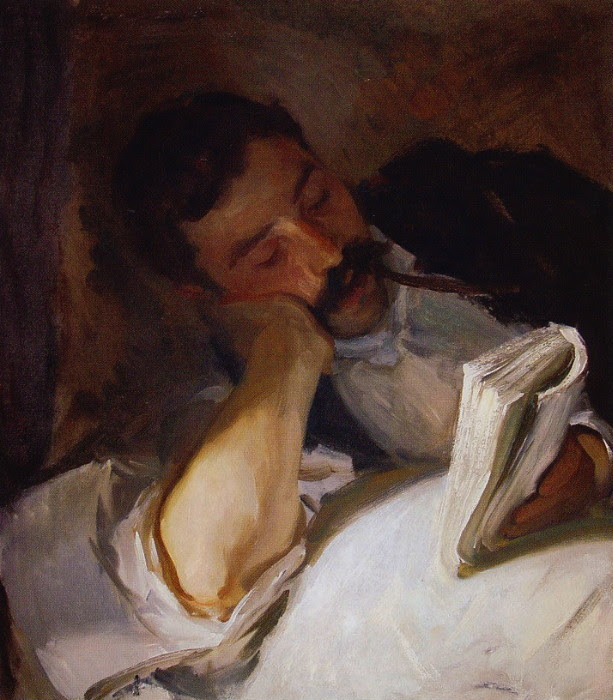 John Singer Sargent, Man Reading (Nicola d'Inverno), 1904-08. Reading Public Museum Sargent was staying in the Alps when he created this painting. Nicola d'Inverno was his manservant.