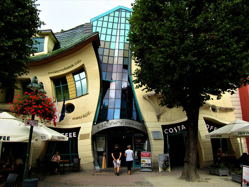 Shopping in the Crooked House in Sopot, Poland