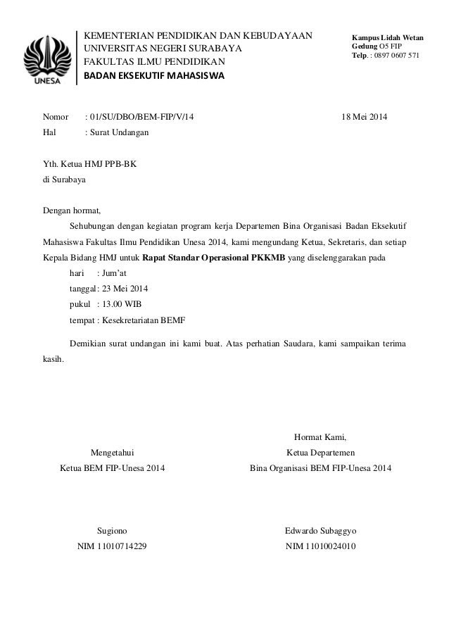 surat undangan standar operasional pkkmb bem fip 2014