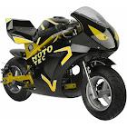 MotoTec Gas 49cc 2-Stroke GT Pocket Bike - Yellow