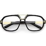 Gold Metal Bar Accent Thick Frame Clear Lens Anti Blue Light Pilot Aviator Glasses 57mm, Black Gold / Clear