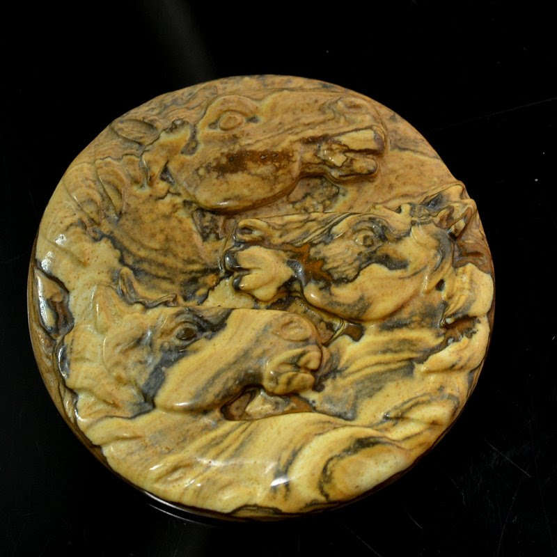 s48832 Stone Cabochon -  Carved 3 Horse Heads - Picture Jasper