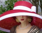 Red and White Sinamay Hat