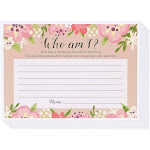 Floral Bridal Shower Games - Who Am I Guess Game, 50 Sheet Rustic Wedding Game Cards, Party Supplies for Bachelorette Party And, Size: Large, Red
