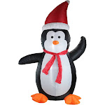 Northlight 4' Inflatable Festive Penguin Lighted Christmas Yard Art Decoration, Black
