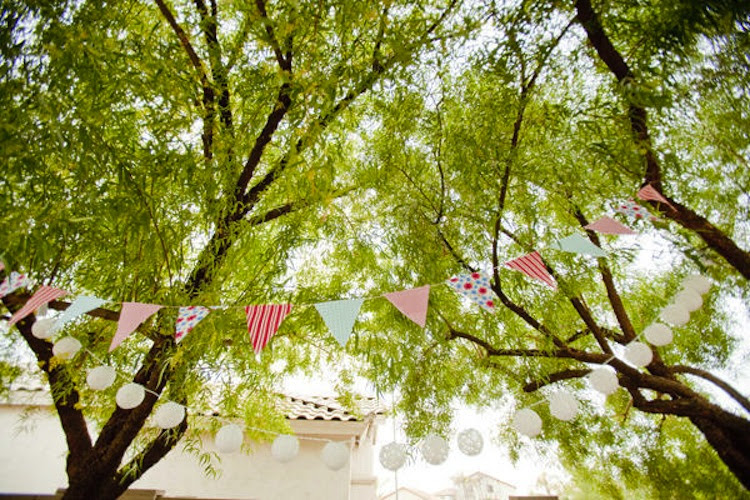 handmade wedding ideas reception decor bunting banners outdoor ...