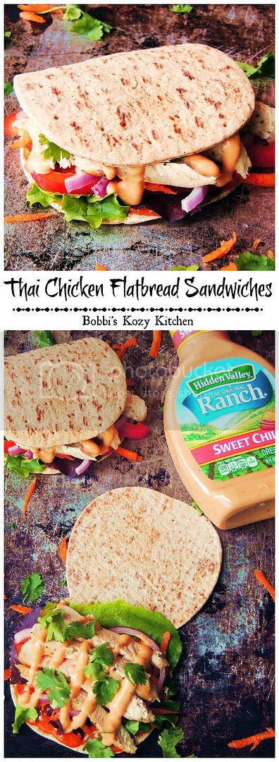 Thai Chicken Flatbread Sandwiches - A wonderful, lunch or light dinner made multi grain flatbread, fresh veggies, Thai inspired peanut sauce, and sweet chili ranch. It is a sandwich your whole family will love!