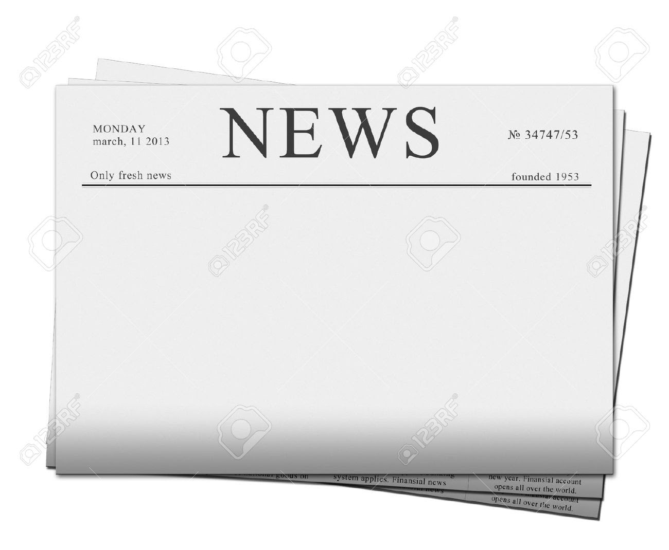 Pile Of Blank Newspapers Isolated On White Background Stock Photo ...