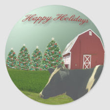 Angus Cow Happy Holiday Sticker sticker