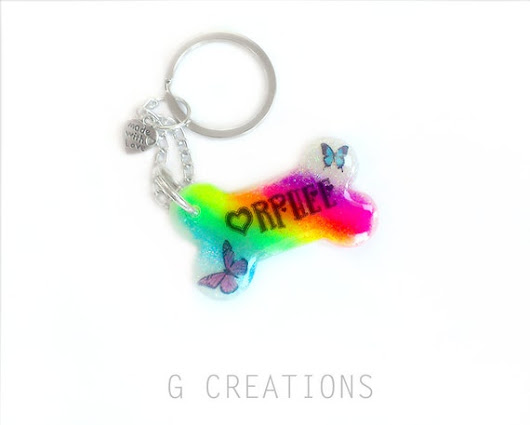 Rainbow Dog Accessory or Key Ring  Colorful by GabriellesCreations