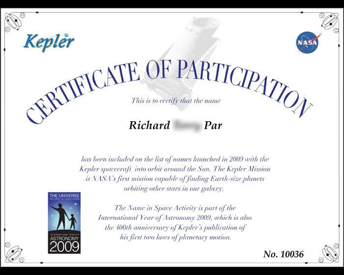 My 'Name In Space' certificate.