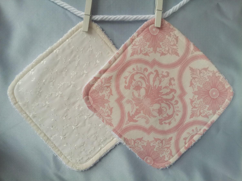 Girls Baby Wash Cloth Ivory Eyelet and Pink Damask SET Toddler Washcloth - StylishKiddies