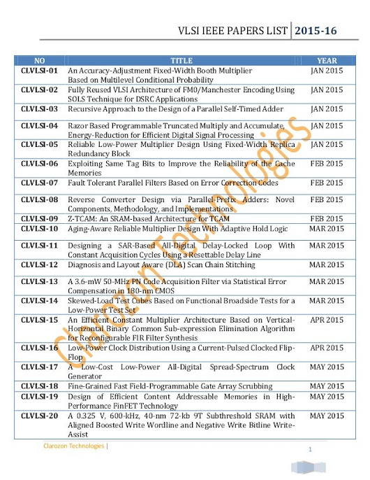 Vlsi ieee papers list 2015 2016