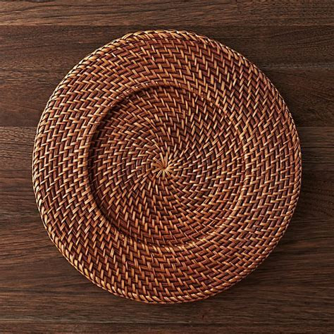 Artesia Honey Rattan Charger Plate   Crate and Barrel