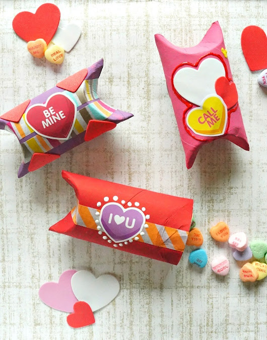 DIY Valentine's Day Toilet Paper Roll Gift Box Craft - Honey + Lime
