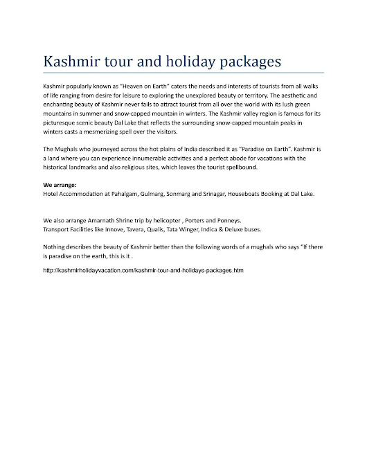 Kashmir tour and holiday packages