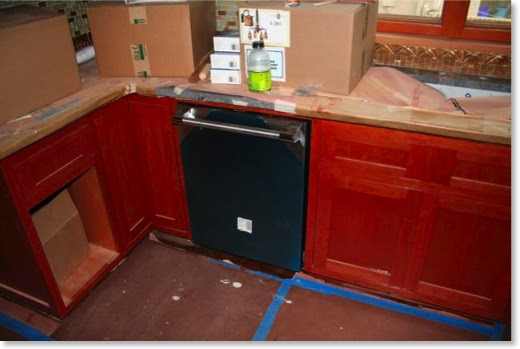 The kitchen cabinets were stained with Jel'd Stain Red Mahogany.