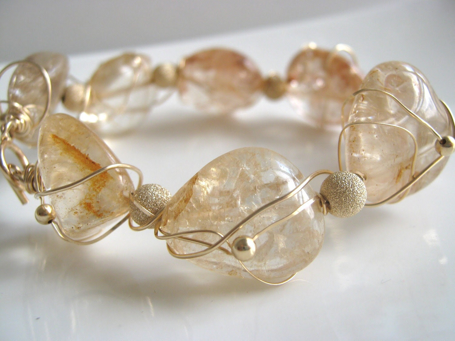 Gold Filled Bracelet - Gold Inflections - magnificent ice flake quartz bracelet in gold filled - free shipping worldwide