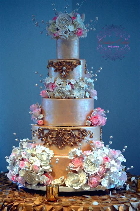 Ivory And Gold Baroque Wedding Cake With Sugar Flowers