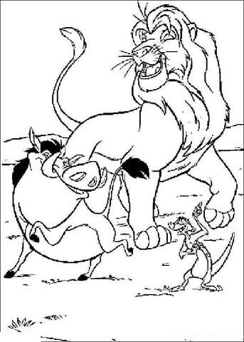 Coloriage Musafa Timon Et Pumbaa Coloriages à Imprimer Gratuits