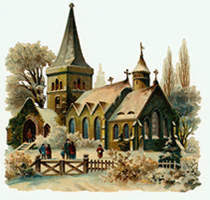 A Traditional English Church from a Christmas Card Scene