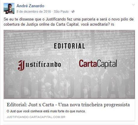 André Zanardo - Facebook - Justificando - Carta Capital