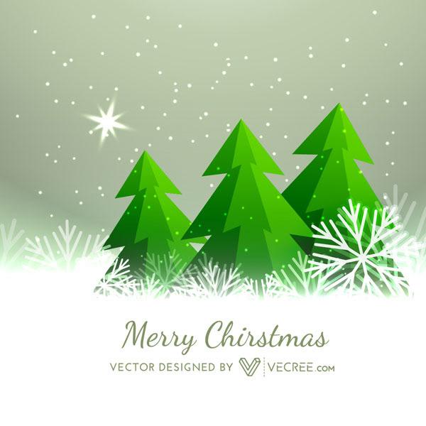 無料素材 モミの木と雪がモチーフのクリスマスカードのイラスト
