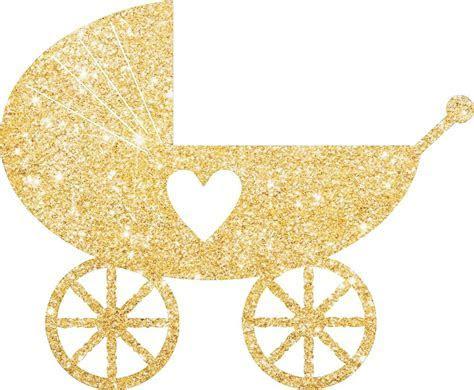 Pram Baby Shower Glitter Cake Pick Topper Sparkly Decoration