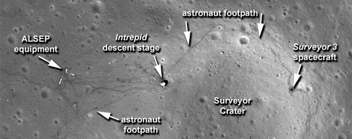 A Lunar Reconnaissance Orbiter (LRO) photo of the Apollo 12 landing site that was publicly released by NASA on September 6, 2011.