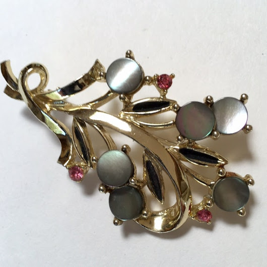 Floral Spray Brooch with Shell and Pink Rhinestone Accents