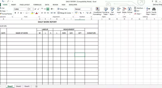Download the excel template for daily work report