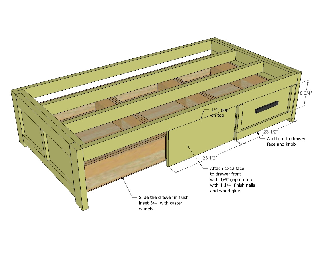 Twin Bed Frame With Drawers Plan