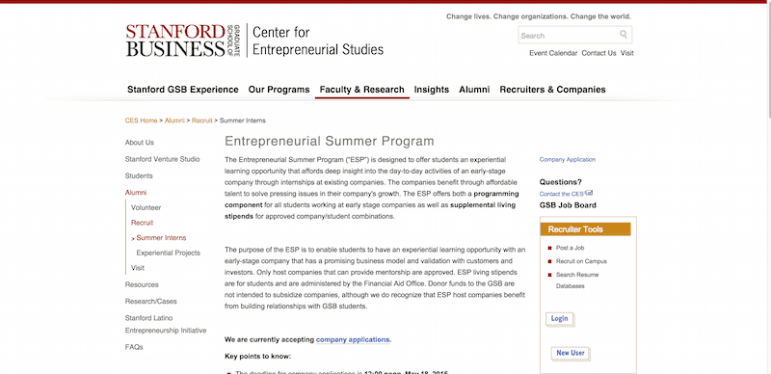 Entrepreneurial Summer Program   Stanford Graduate School of Business