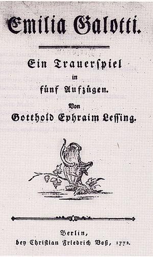 Emilia Galotti - Titelblatt der Erstausgabe