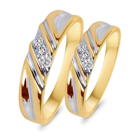 1/10 CT. T.W. Diamond His And Hers Wedding Rings 10K