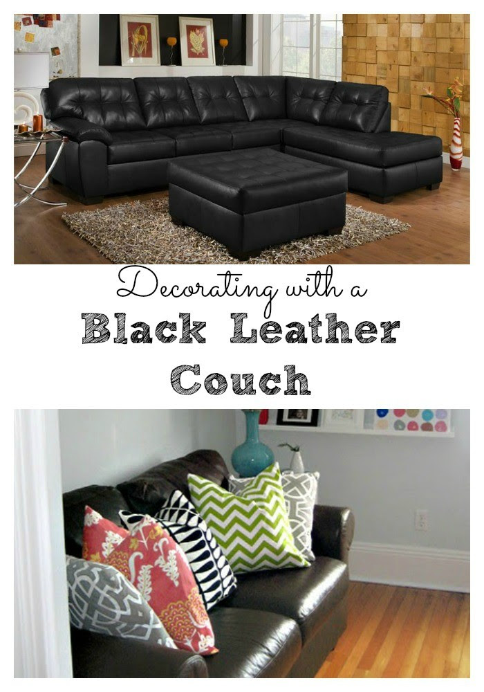 Living Room Decorating Ideas - Black Leather Couch