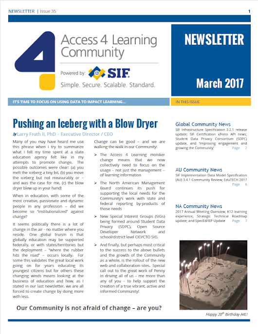 A4L Quarterly Newsletter, March 2017 - Access 4 Learning (A4L) Community