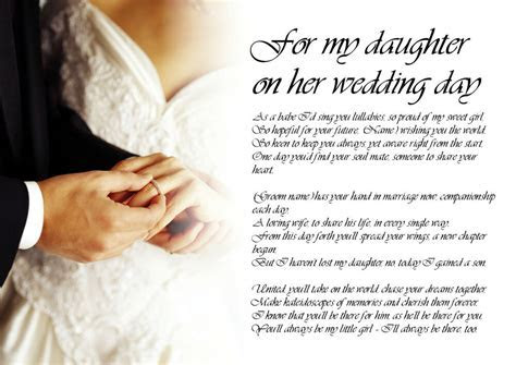 Personalised Poem Poetry for Bride Daughter from Dad on