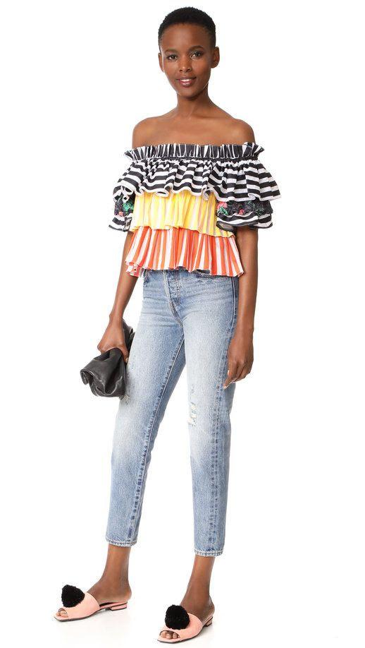 Le Fashion Blog Under $500 Caroline Constas Colorful Rainbow Ruffled Off Shoulder Top Via Shopbop