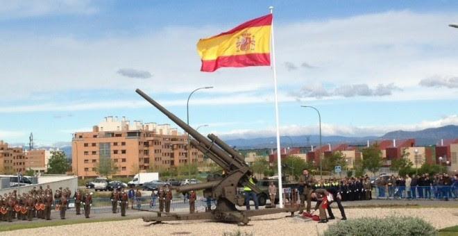 Inauguración del cañón antiaéreo en 2013.- AYUNTAMIENTO DE MADRID
