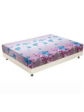 New Arrival Blue Butterfly and Purple Flowers Print 3D Fitted Sheet