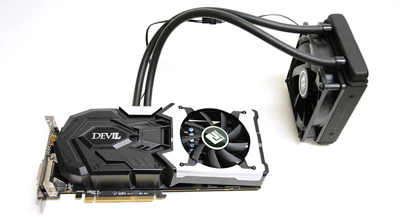 The card combines air- and water-cooling for a hybrid cooling solution.