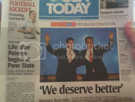 Headline 'We deserve better' below pic of Romney and Ryan