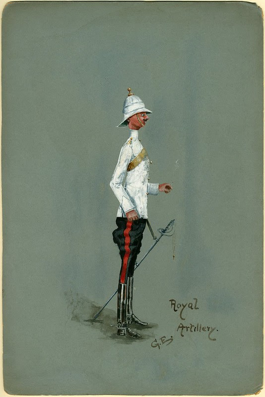watercolour drawing of artillery soldier, white tunic, pith helmet - humorous caricature render