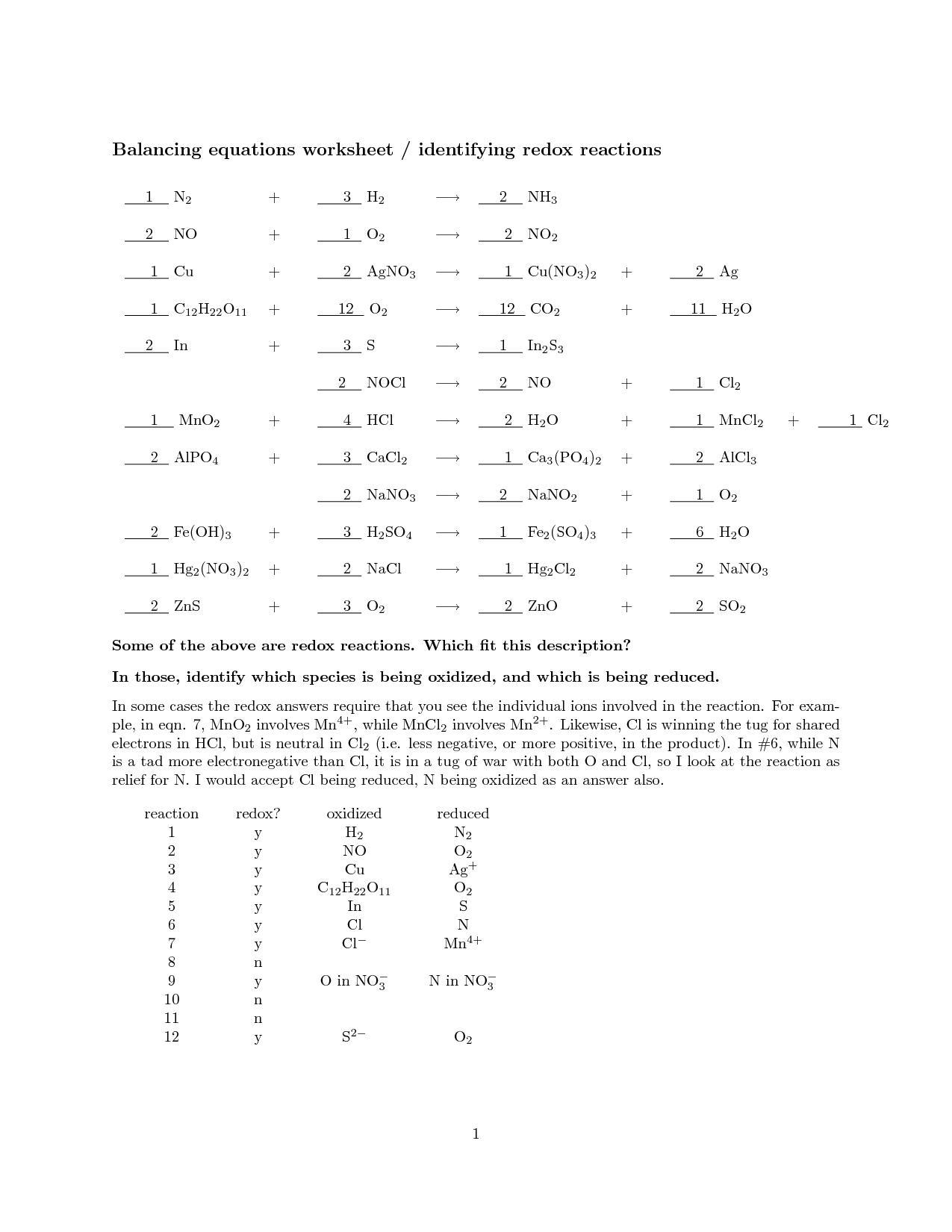 30 Balancing Chemical Equations Worksheet Answer Key ...