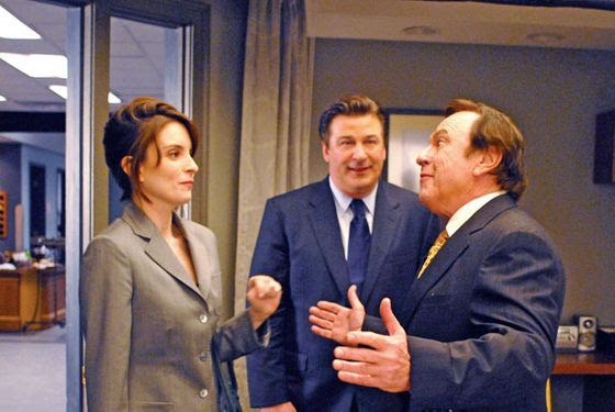 "30 ROCK -- ""Succession"" Episode 213 -- Air Date 04/24/2008 -- Pictured: (l-r) Tina Fey as Liz Lemon, Alec Baldwin as Jack Donaghy, Rip Torn as Don Geiss  (Photo by Nicole Rivelli/NBC/NBCU Photo Bank via Getty Images)"